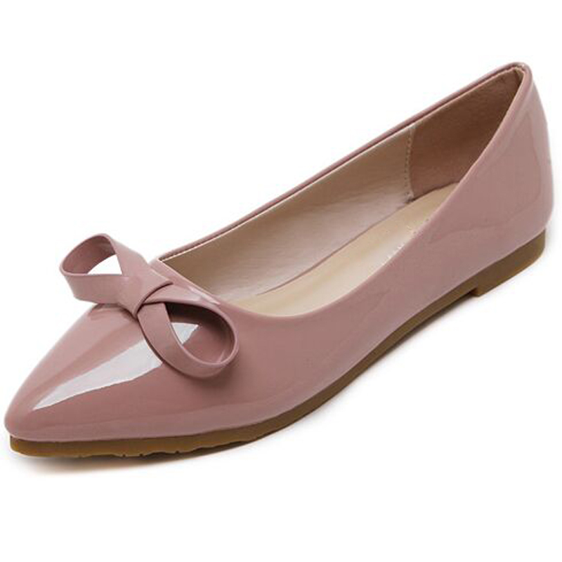 2017 Spring&Summer Pointed Toe Flat Heel Sweet Bow Shoes Single Shoes Women Fashion Women's Flat Shoes new 2017 spring summer women shoes pointed toe high quality brand fashion womens flats ladies plus size 41 sweet flock t179