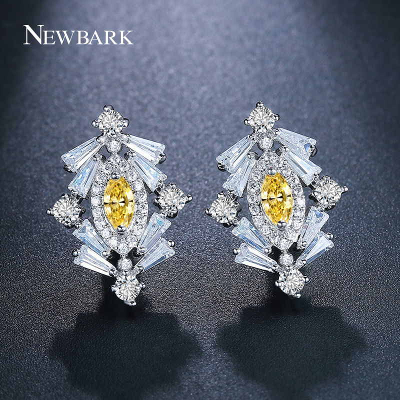 Newbark Lovely Tree Shaped Stud Earring Fully Cubic Zirconis Yellow Crystal Stones Cute  ...