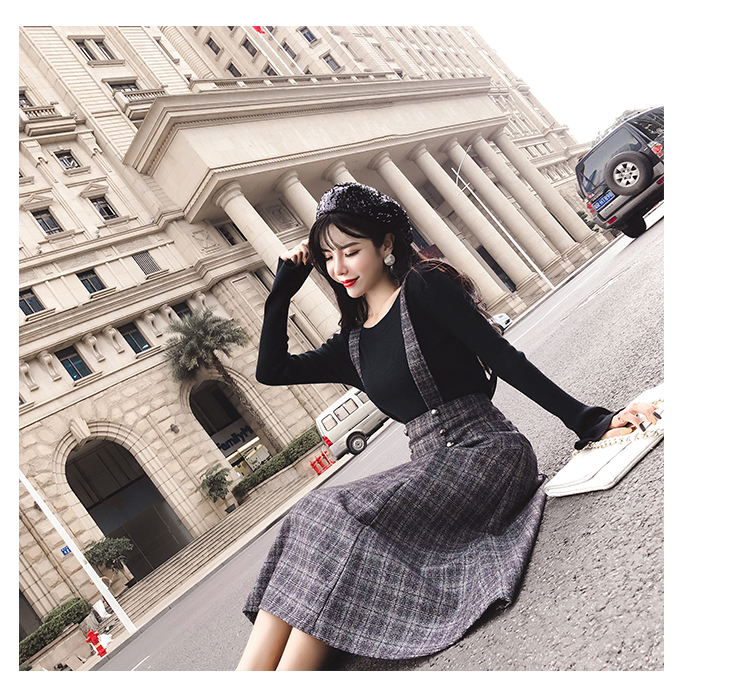 c8c1cd98e5526 Girls tartan skirts with shoulder straps front buttons sweet style autumn  winter women midi long plus size checkered skirt mujer