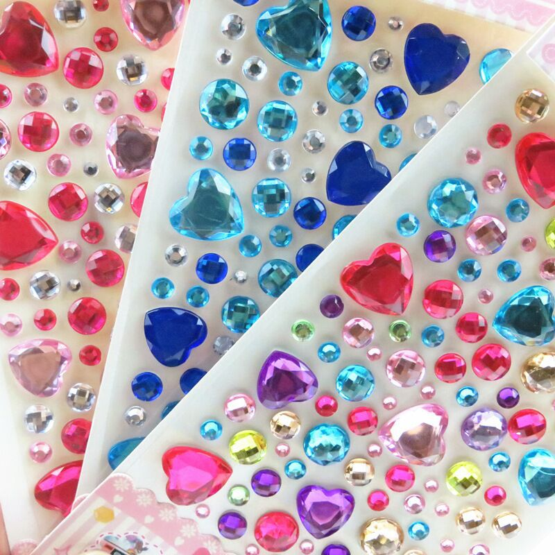 NEW 3D Children Gem Stickers Diamond Sticker Acrylic Crystal Sticker DIY Three-dimensional Decoration Rhinestone For Kids Girls