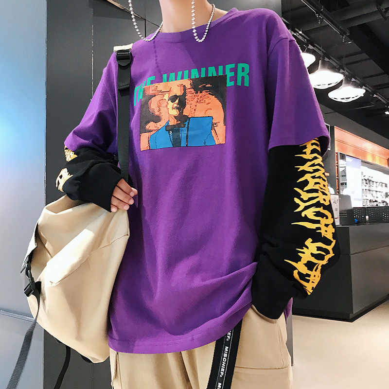 Men T Shirt Long Sleeve Patchwork Funny T Shirts T-shirt Men Hip Hop Harajuku Off White Palace Alien Covenant Tshirt Dota