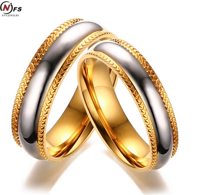 Nfs 2pcs Elegant Wedding Rings For Women Men Tire Pattern Stainless