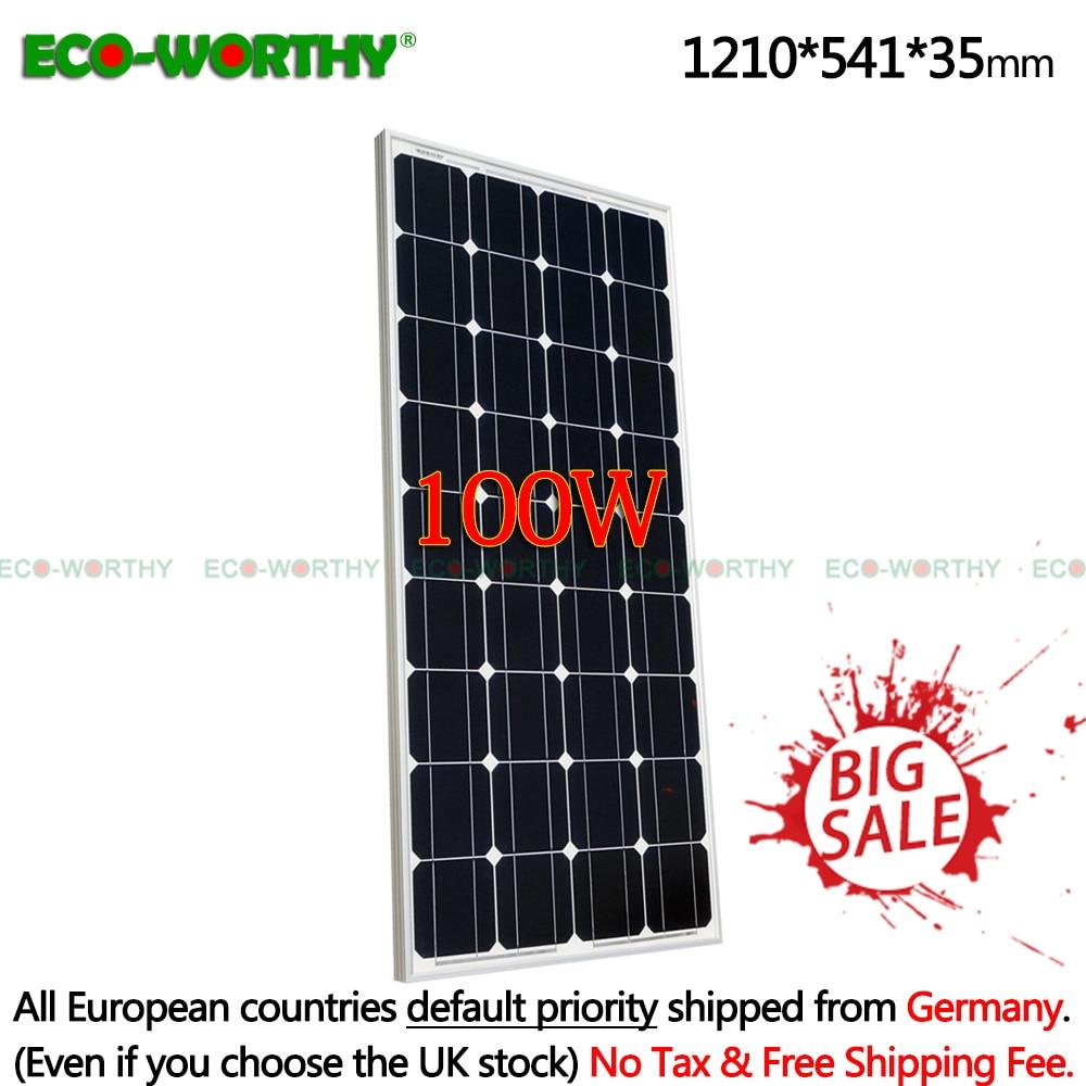 ECO worthy 100w 18V monocrystalline solar panel sunpower cell for 12V battery charger 100W 18v mono
