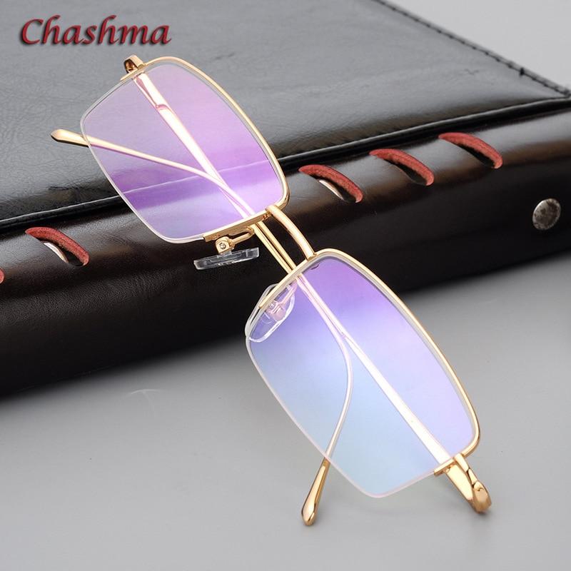 Chashma demi-jante titane lunettes cadre luxueux lunettes hommes mode Simple Design or lunettes lunettes cadre hommes
