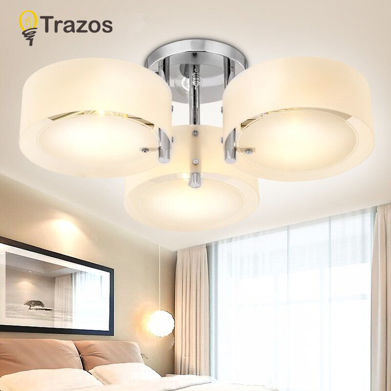 NEW 2017 Modern Ceiling Lights modern fashionable design dining room lamp pendente de teto de cristal white shade acrylic lustre noosion modern led ceiling lamp for bedroom room black and white color with crystal plafon techo iluminacion lustre de plafond