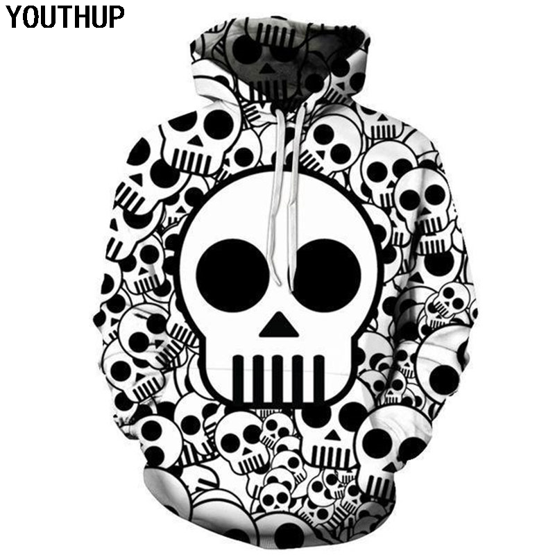 YOUTHUP 2018 New Cartoon Skull Hoodies Men 3d Print Hooded Hoodies Funny Sweatshirts Men Coat Casaul 3d Hoodies For Men/Wome 5XL