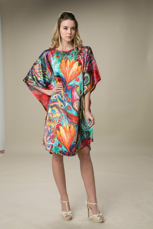 Шелковое атласное платье, натуральный шелк, женские платья, свободный размер, домашнее платье, Новое поступление, платье с цифровой печатью, китайская фабрика, павлин