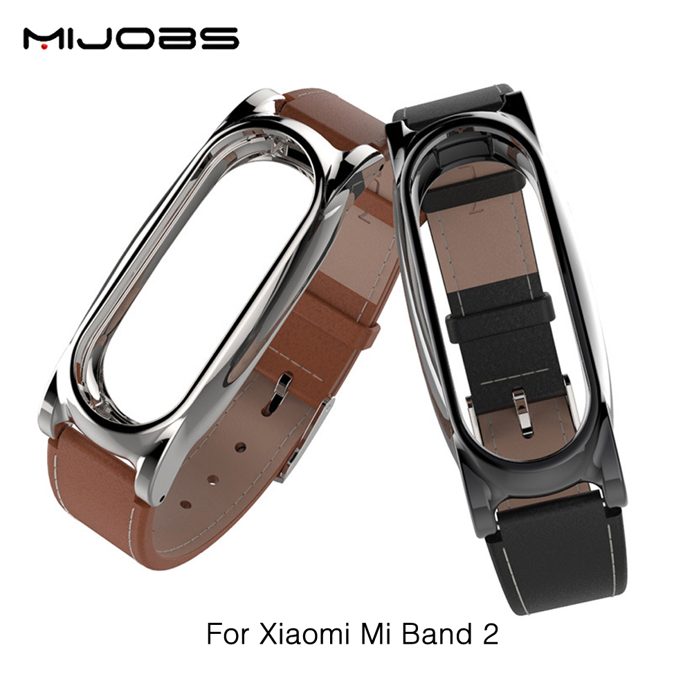 New Version Original Mijobs Leather Strap For Xiaomi Mi Band 2 Metal Leather Screwless