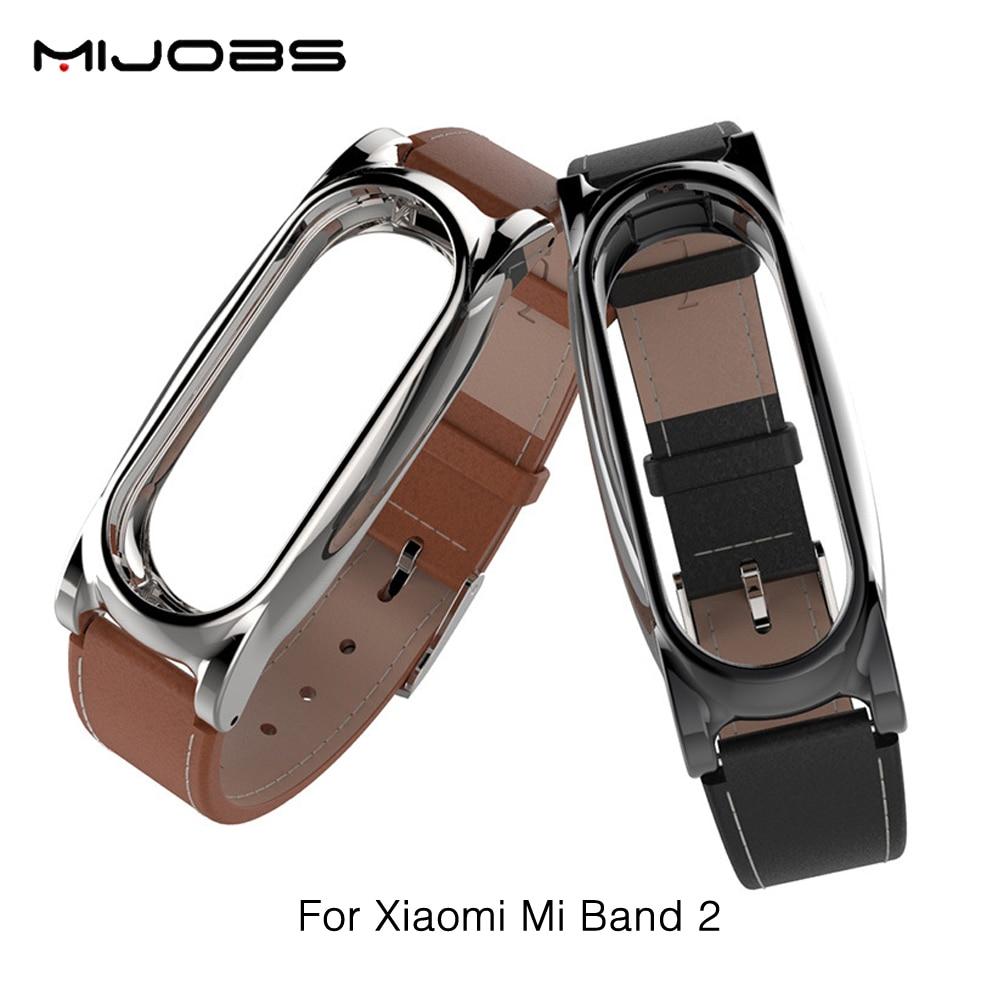 Nuova Versione Originale Mijobs Cinturino In Pelle Per Xiaomi Mi Band 2 In Pelle di Metallo Braccialetti Sostituire Braccialetto Per MiBand Senza Viti 2
