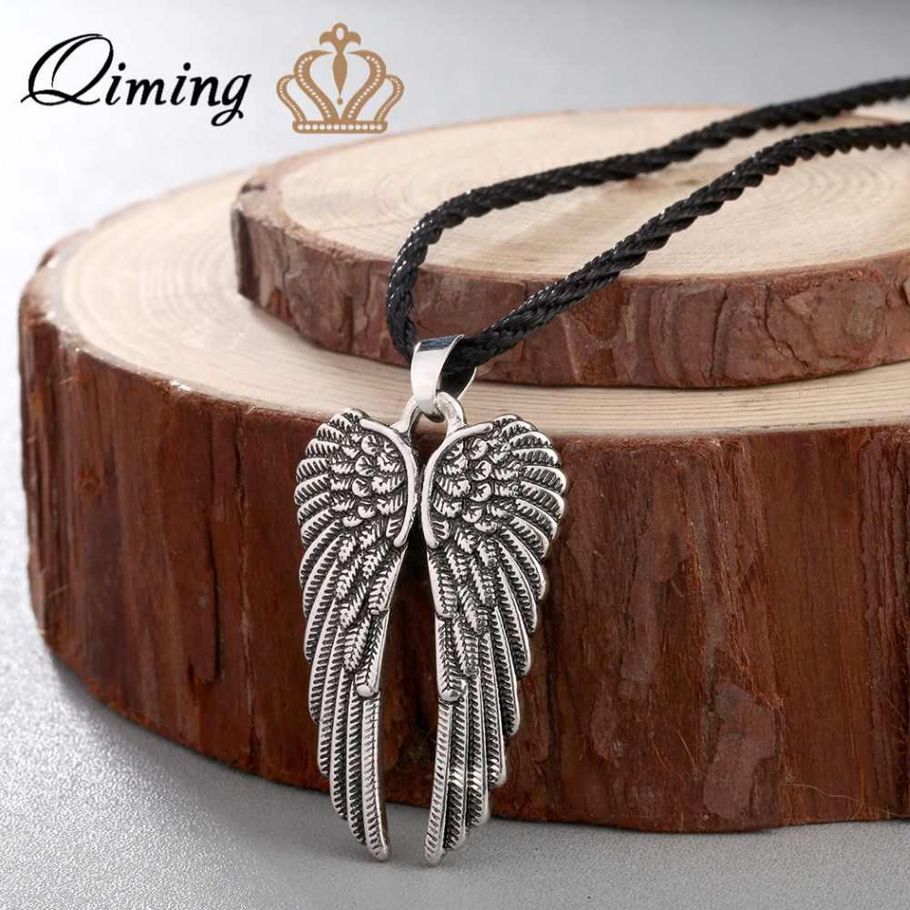 QIMING โบราณ Silver Angel Wings สร้อยคอจี้ Angel Wings Guardian Angel Charm ของขวัญ Wing สร้อยคอเครื่องประดับ