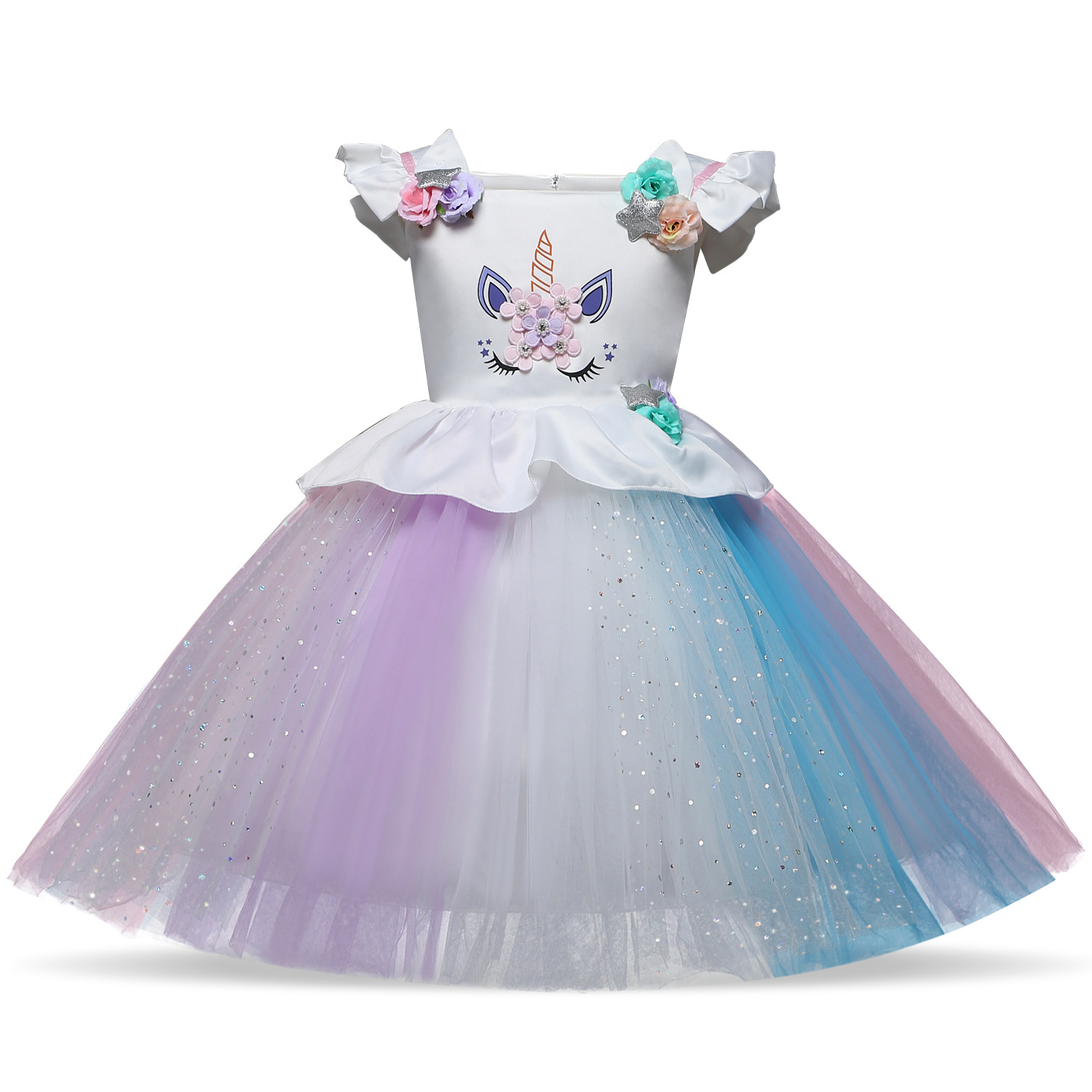 2018 New style 2-10 year summer dress Unicorn children princess dress  Children s clothing girls 073988a6ee91