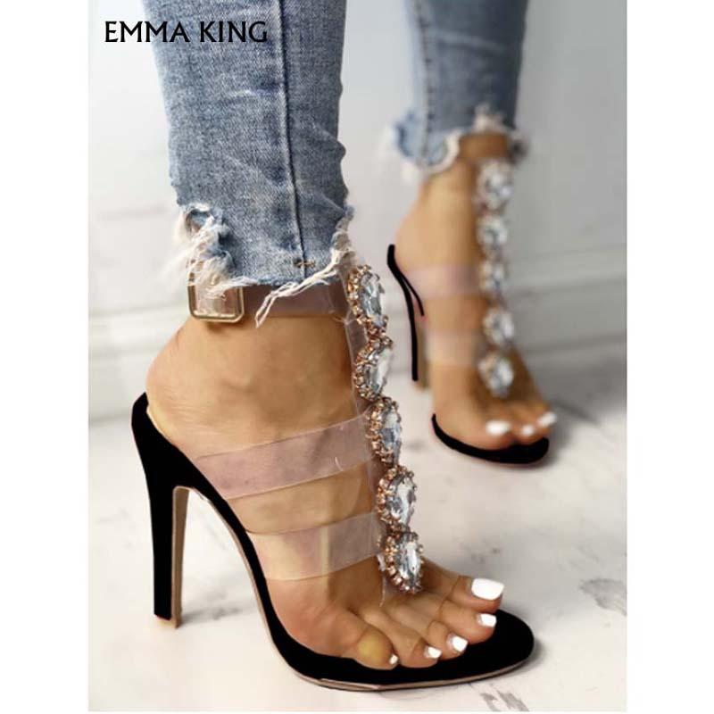 Sandalias de tacón con adornos brillantes con correa transparente a la moda para mujer zapatos de lujo para mujer - 6