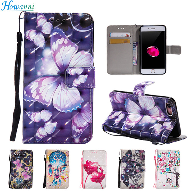 """Howanni Leather Case For Samsung Galaxy S6 Case Flip SM-G920F 5.1"""" Painted Wallet Stand Cover For Coque Samsung S6 Case Cover"""
