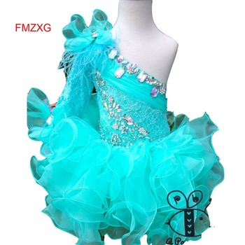 Turquoise Short 2019 Flower Girl Dresses For Weddings Ball Gown One Sleeve Lace Communion Dresses Bow maillot real enfant