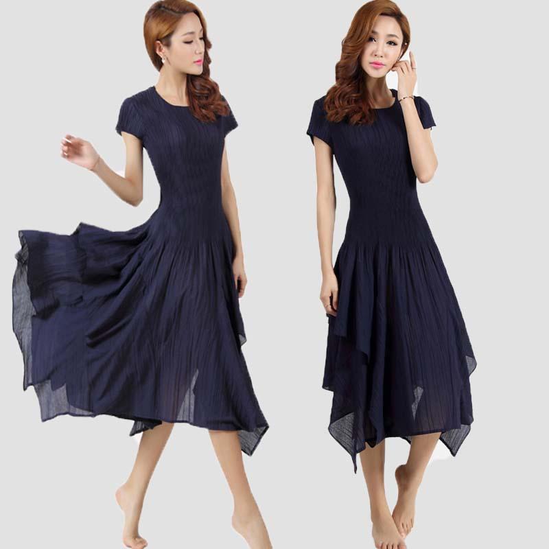 Robes Pliage Gratuite navy Miyake Noir Courtes Blue Livraison À rouge Robe Plissée Manches nRwfqagY