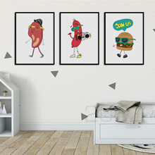 Cartoon Funny Food Prints Burger Steak Nursery Wall Art Canvas Painting Nordic Posters And Pictures Kids Room Decor