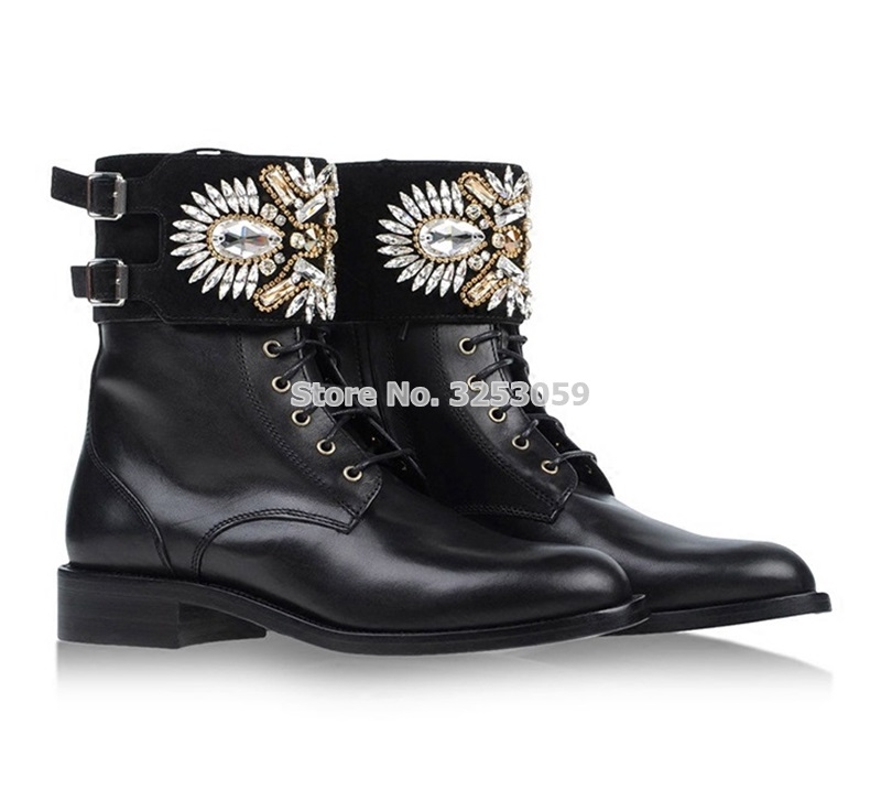 Ladies Fashionable Black Ankle Casual Boots Bling Bling Crystal Dress Boots Glittering Beaded Buckle Booties Motorcycle Boots fashionable sleeveless beaded skinny slimming women s dress
