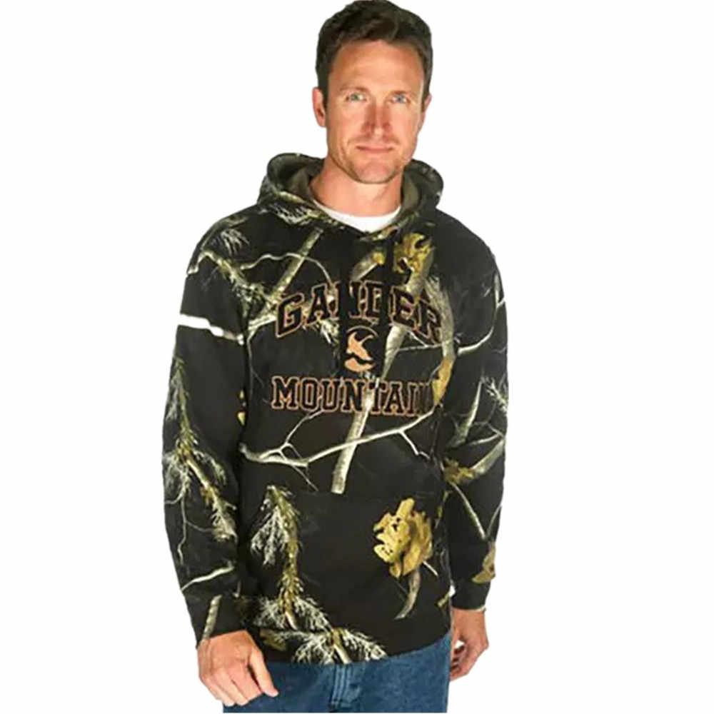 Outdoor Herfst Winter Mannen Bionische Camouflage Vissen keep Warm Hooded Trui Jas Jacht Wandelen Katoen Blend Casual Jas Top