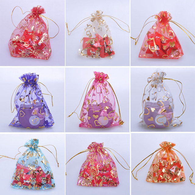 100pcs mix color transparent organza candy drawstring bag jewelry