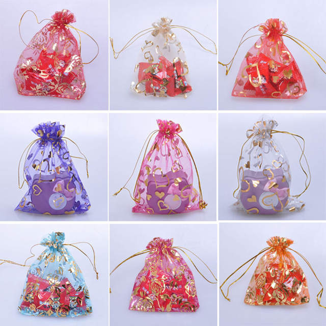 Us 9 43 10 Off 100pcs Mix Color Transpa Organza Candy Drawstring Bag Jewelry Packaging Gift Bags Wedding Gifts For Guests Supplies In