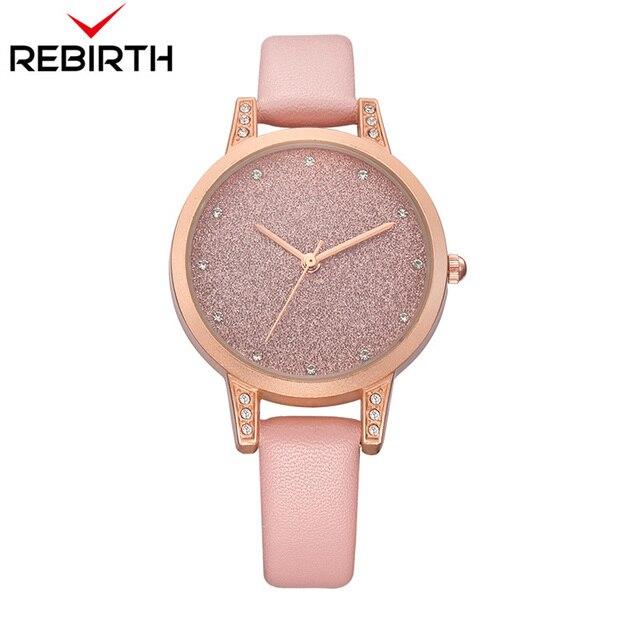 Women Watches REBIRTH Rhinestone Luxury Lady Wristwatches Leather Fashion  Causal Dress Watch Women Quartz Watch Bracelet Watches 829caa533c98e