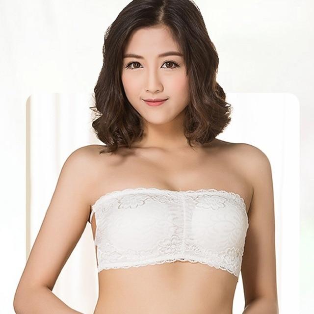 04b535c2d79 2018 Floral Lace Strapless Bra Women Black White Padded Bralette Wireless  Bras Plus Size Underwear Women Invisible Bra X2