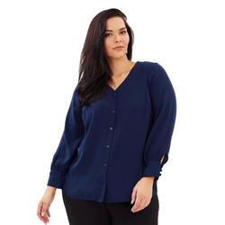 Плюс Размеры V шеи одной кнопки Повседневная Блузка Для женщин Осень рубашка офис дамы Офис Топы 6XL 7XL