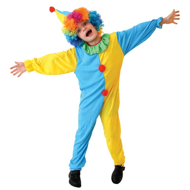 Free Shipping Halloween Cosplay Costumes Children Circus Clown Naughty Harlequin Fancy Fantasia Infantil For Boys Girls Dress Up Home