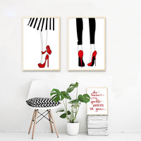 Женские ножки Высокие каблуки парусиновые модные плакат Nordic минималистский стены Книги по искусству печати живопись картины Обувь для дев...