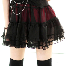 New Arrival Dolly Delly Punk Black Chiffon Girl's Tutu Skirt for Summer with Layered Ruffles