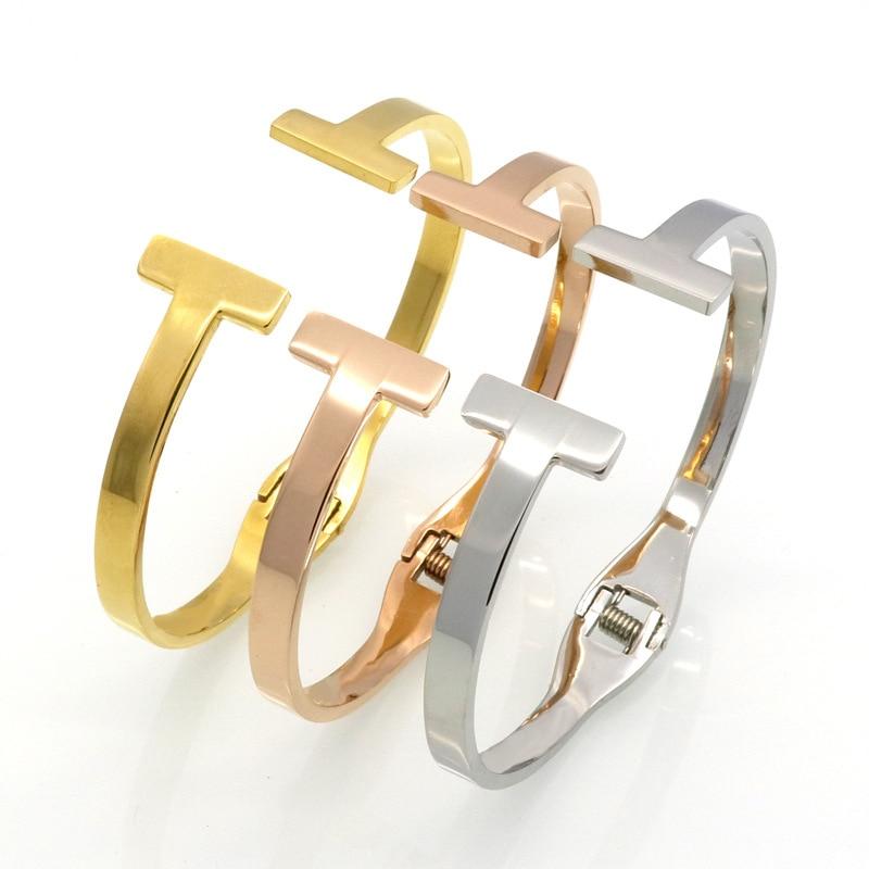 Divat ékszerek csúcsminőségű rozsdamentes acél arany színű tavaszi Snap karkötő dupla T Bangle a nők ékszer karperecek nagykereskedelme
