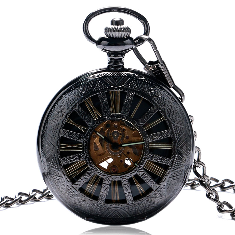 Vintage Black Pocket Watch Automatic Mechanical Watches Men Women Gift Fob Watches with Pocket Chain