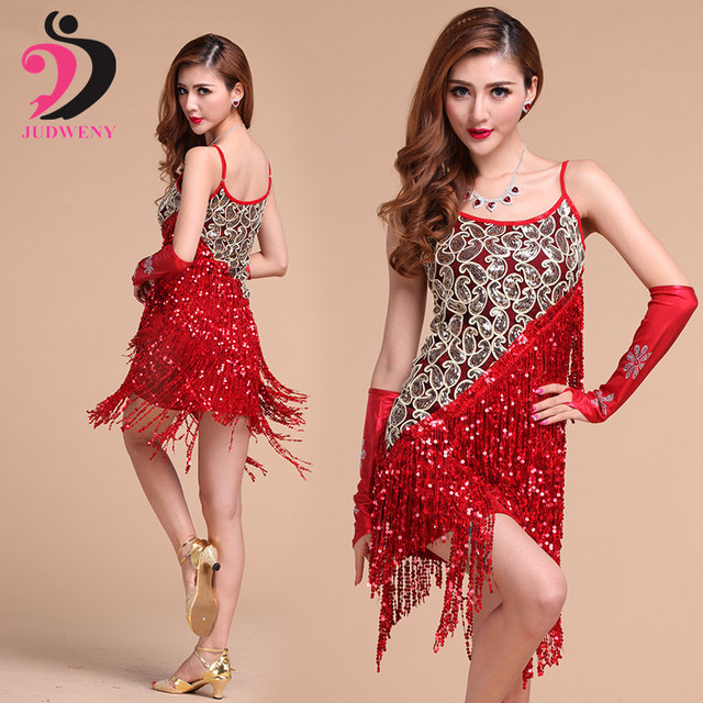 a9a6c6a64073 Latin Dance Dress Women Competition Dancewear Sexy Size Salsa Dress Tassel  Sequin Costumes Silver Black Red