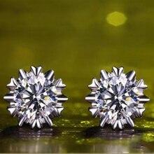 Shellhard Silver Plated Stud Earring Luxury Austrian Crystal Snow Flake Piercing Earrings For Women Jewelry Bijoux