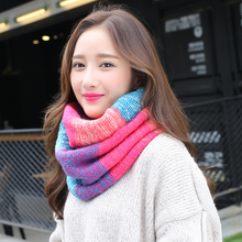 Fashion Patchwork Knitted Scarves For Women LIC Autumn Luxury Brand Ring Shawls Stoles Female Winter Warm Cashmere Scarf Collar