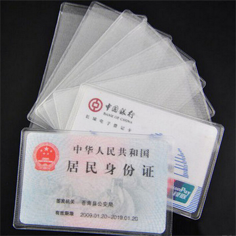 10pcs Women Men 9.6*6cm Credit Card Cover Bag PVC Transparent Frosted Waterproof Business ID Cards Holders Protect Bags