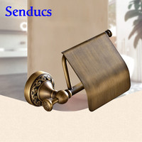 Free shipping antique toilet roll paper holder with high quality brass bathroom roll paper holder from Senducs sanitary holder