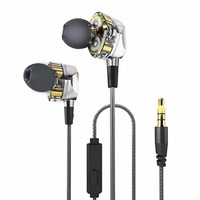 LESHP HiFi Earphones Dual Dynamic Driver 4D Stereo Surround Professional Noise Cancelling HIFI Earbuds Headfree With