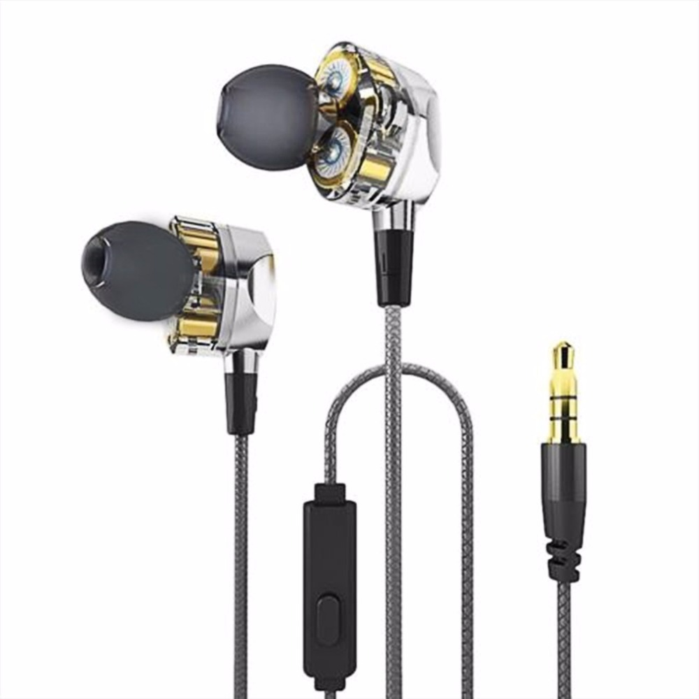 LESHP HiFi Earphones Dual Dynamic Driver 4D Stereo Surround Professional Noise Cancelling HIFI Earbuds Headfree With Mic in ear kz headphones with mic original zs2 bass dual driver earphones in ear earphone noise cancelling stereo earbuds universal3 5mm