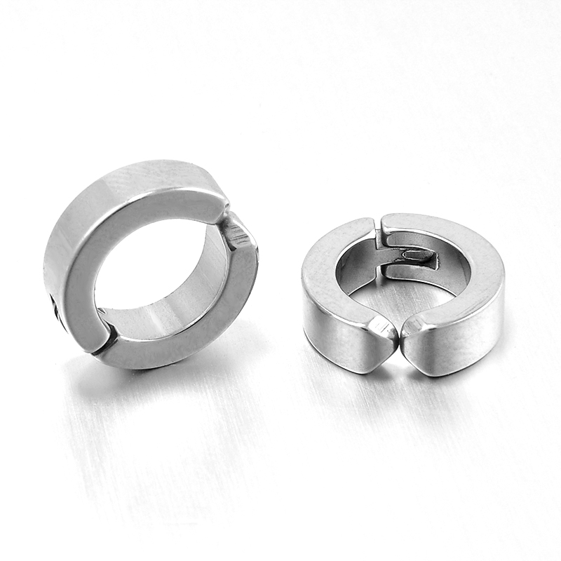 1 Pair Men S Stainless Steel Non Piercing Earring Clip On Ear Stud Cuff Earrings Silver Black Er960 In From Jewelry Accessories