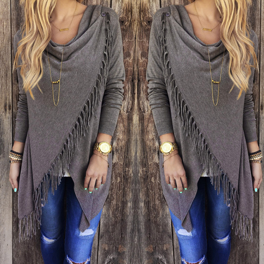 Loose Cardigan Womens Irregular Tassel Knitted Sweater Jacket Wrap Poncho Coat