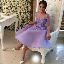 2017 Lavender A-line Organza Mädchen Homecoming Kleid Mini Rock Party Kleider Scoop Ausschnitt Cocktail Mit Blume Kleid 42