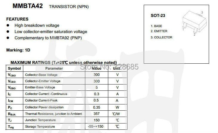 100PCS MMBTA42 1D 0.3A//300V NPN SOT-23 SMD transistor
