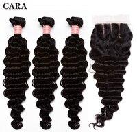 Бразильский глубокая волна Связки с закрытием человеческих волос Weave 3 Связки с закрытием черный Цвет Волосы remy Связки с закрытием CARA