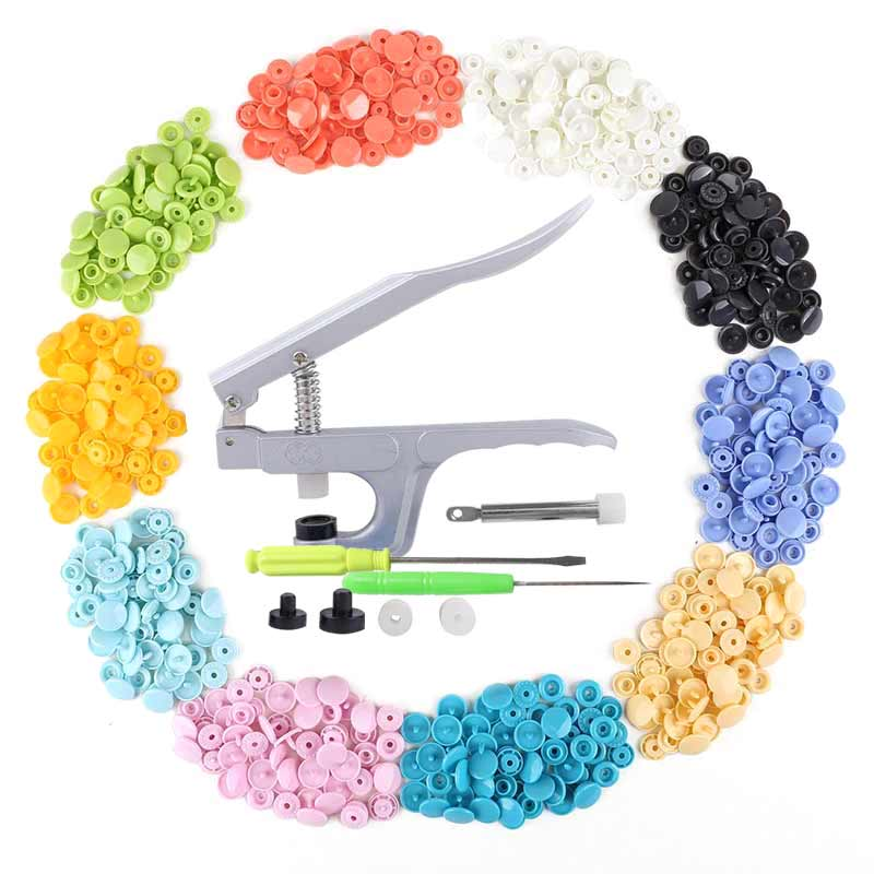 Hand Press Plier + 150pcs 1.2cm Plastic 15 Colors Snap Fastener 4-Part Buttons Set TB Sale