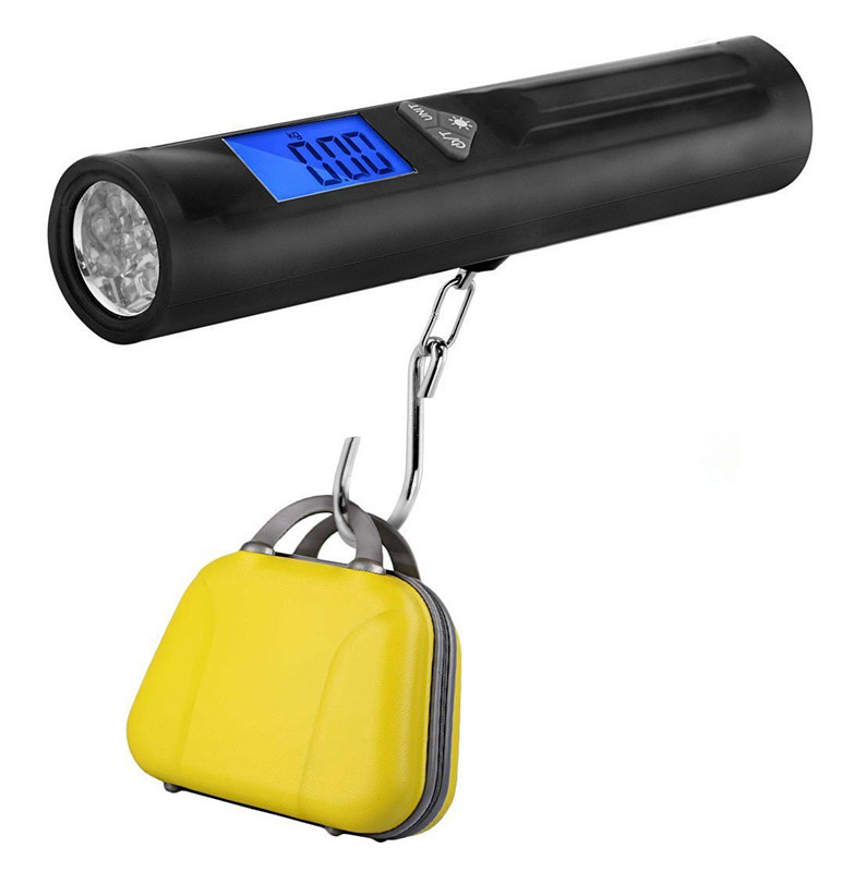 40kg X 10g Mini Multifunctional Digital Scale Flashlight for Fishing Luggage Travel Stee ...