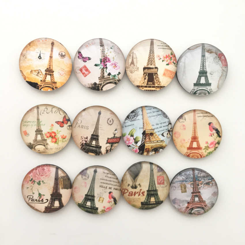 Free shipping (12pcs/lot) Paris Tower Crystal Glass Fridge magnet Round Message Sticker France Souvenir Home Decor kids gift