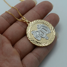 Two Tone Islamic Necklaces Allah Muhammad Light Gold Color Middle East Muslim Pendant Women #013804
