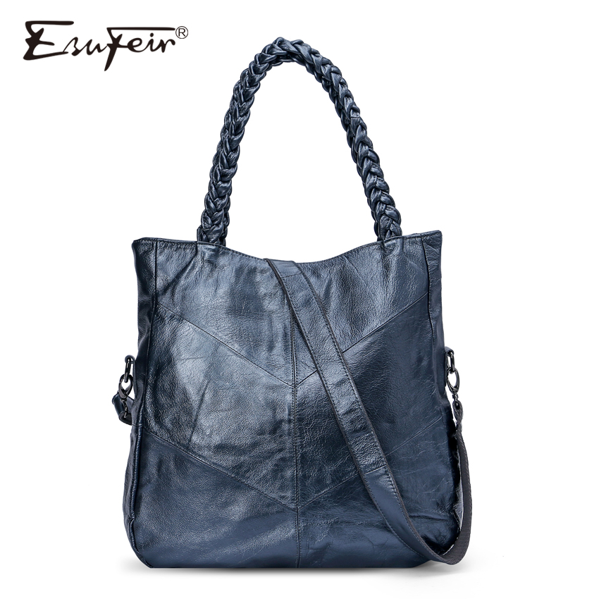 ESUFEIR Brand Genuine Leather Women Handbag Cow Leather Patchwork Shoulder Bag Fashion Women Messenger Bag Tote Bags sac a main genuine leather women s shoulder bag fashion patchwork plaid women cross body bags colorful tote lady messenger bag