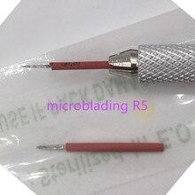 50pcs 영원한 메이크업 3D 안개 아이 브로우 문신 Microblading 바늘 5 수동 Tebori 자 수 펜에 대 한 베벨 라운드 바늘